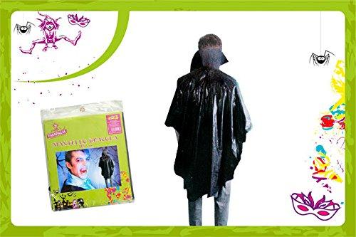 Schwarzes Cape von Vampir Dracula Halloween Kunststoff wirtschaftlichen 115 cm