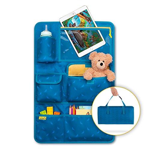 Kinder Autositz-Organizer und Rückenlehnenschutz - Autositzschoner, 8 Fächer, mit Tablet-Halter, blau -