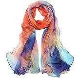 Seidenschal Damen Seidentuch 100% Seiden Schal Tuch Hautfreundlich Anti-Allergie 175 * 65cm (Orange blau) MEHRWEG
