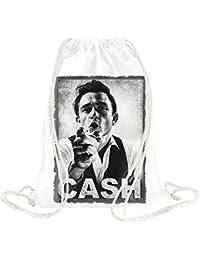 Johnny Cash Portrait Kordelzugbeutel Gym Travel Drawstring Sack Printed Bags By Genuine Fan Merchandise