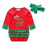 Abito di Natale /Nuovo anno delle neonate ragazze Lunga camicia Gonna a righe Abiti festivi Abbigliamento con fascia verde 70cm, 80cm, 90cm, 100cm Kootk