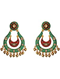Designer Meenakari Kundan Gold Plated Green Brass Fashion Dangler Earrings Fro Women