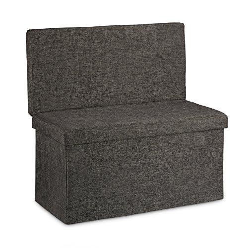 Relaxdays Faltbarer Sitzhocker mit Lehne L HBT 73 x 76 x 38 cm Sitzbank und stabiler Sitzcube als Fußablage Sitzwürfel aus Leinen als Aufbewahrungsbox Truhenbank mit Stauraum mit Deckel, braun