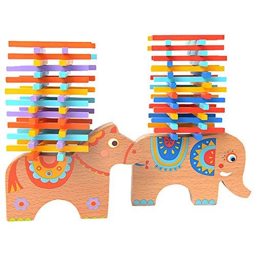 Tagke Elefante Equilibrio Viga Hechizo Insertar Bloques Niños Apilamiento Color Palillo Apilamiento Apilar Juegos de Mesa de Música Niño Niña Juguetes (Color : B)