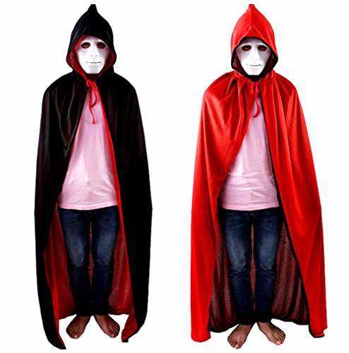 Damen Herren Halloween Cloak Umhang Karneval Fasching Kostüm Cape mit Kapuze &Hut Black+Red (L)