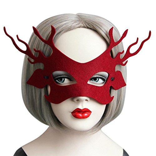 Halloween Party Für Kostüme Stadt Mädchen (WOCACHI Party Masken reizvolles elegante geheimnisvolle Nettes Tiermuster Gesichtsmaske für Maskerade Ball Karneval Fantasie Party (20-25cm,)