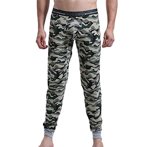 Herren Thermo Unterhosen,Bmeigo Long Johns Leggings Thermowäsche Camouflage Compression Hosen Baselayer (Long Pyjama-hose John)