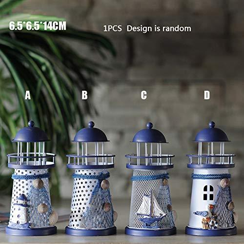 Smilikee Farbwechsel LED Laterne Nachtlicht Metall Vintage Openwork Ocean Lighthouse Hochzeit Lampe, 1 von 3 mediterranen Stilen, inkl. Batterien, 1 Stück -