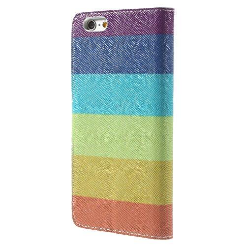 iPhone 6 6S Hülle Klapphülle von NICA, Slim Flip-Case Kunst-Leder Vegan, Phone Etui Schutzhülle, Dünne Vorne Hinten Handytasche Wallet Bumper für Apple iPhone 6S 6 - Pretty Roses Edition Colorful Stripes Edition