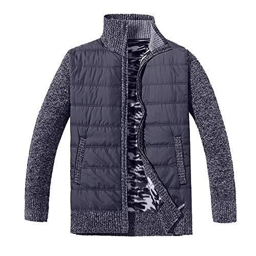 Hommes Epais Souple Chaud VêTements en Laine Outwear Outercoat Manteau Hiver Autumne Veste Casual Sweatshirt Sport Pullover Blouse Blouson Pardessus Dark Gris XL
