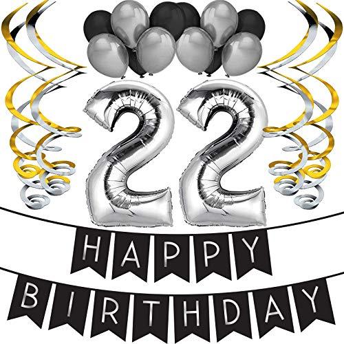 Sterling James Co. 22. Geburtstag Party Set - Schwarz & Silber Happy Birthday Girlande, Poms und Spiralgirlanden - Lustiges Geschenk Deko