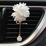 IGEMY 6 Style car essential oil diffuser vent clip Car Loving Gift Air Outlet Fragrant Perfume Flower Freshener Diffuser Camellia (white)