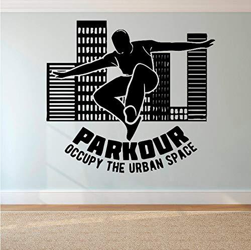 Wiwhy Parkour Logo Wandaufkleber Free Running Wandtattoo Tracer Jump Sport Wand Poster Teen Jungen Geschenk Extreme Sport Wandbild 56X62Cm