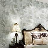 DUOCK Retro American Vliesstoffe Tapeten Star Washington Muster Wohnzimmer TV Hintergrundbild, Gelb, 53 CM X 10 M