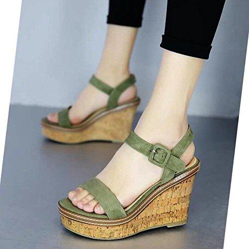 L@YC Donne zeppa dell'alto tallone della piattaforma casuale Una primavera-estate con spessore Soled Suede Green
