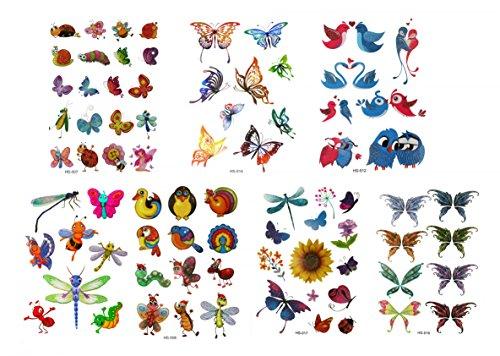 GGSELL GGSELL Tattoo 7pcs Karikaturkinder temporäre Tätowierungen in einem Paket, einschließlich bunte Blumen, Schmetterlinge, Vögel, Libellen, Bienen, anns, Enten, Hähne, Insekten, etc.