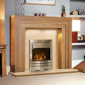 Electric Oak Wood Surround Modern Silver Brushed Steel Pebble Coal Fire Fireplace Suite Lights Spotlights 48""