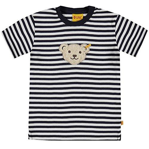 Steiff Basic T-Shirt Streifen mit Quietsch Teddy marine (dunkelblau) 98 (Klassiker Marine-blau-t-shirt)