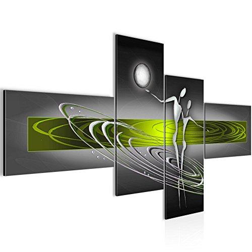 Bilder Abstrakt Figuren Wandbild 160 x 80 cm Vlies - Leinwand Bild XXL Format Wandbilder Wohnzimmer Wohnung Deko Kunstdrucke Grün Grau 4 Teilig -100% MADE IN GERMANY - Fertig zum Aufhängen 301245c