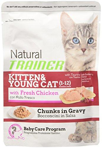 Natural Trainer Bocconcini in salsa, con pollo fresco, per gattino e gatto giovane (1-12 mesi), 85 g, 1 busta