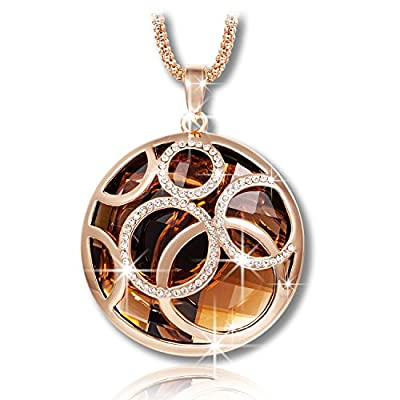 "Pauline & Morgen ""Champagne"" Rose Gold Plated Round Crystal Pendant Women Necklace"