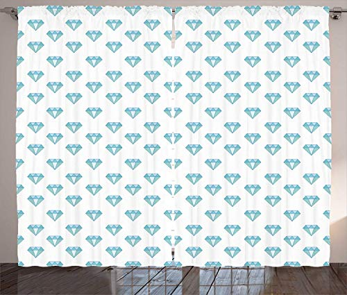 BHWYK Turquoise Blue Curtains, Pattern of Diamond Motif with Geometric Elements, Living Room Bedroom Window Drapes 2 Panel Set, Turquoise Baby Blue Sea Blue,110 W X95 L inch (Blue Diamond Black-gold-ring)