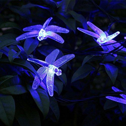 lederTEK Solar Lichterkette 4,8m 20 LED 8 Modi Großlibellen Außenlichterkette Wasserdicht mit Lichtsensor Weihnachtsbeleuchtung, Beleuchtung für Haushalt, Außen, Garten Hochzeit, Weihnachten (blau) - Bild 6