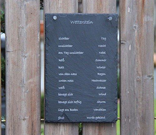 A1 Schiefertafel Wetterstation Schiefer wenn Stein nass - Regen Wetterstein Schiefer Schild Schöne Geschenkidee - Personalisierbar