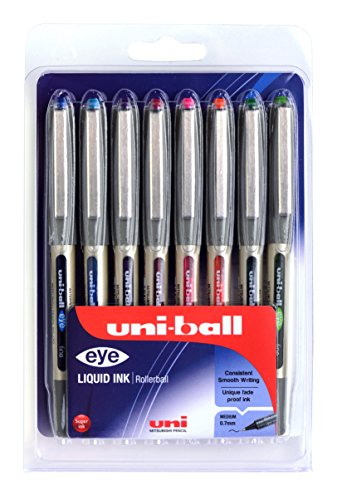 UB-157 eye Fine Kugelschreiber, Uni Super-Tinte in ausgewählten Farben, 0.7 mm Spitze, 8 Stück