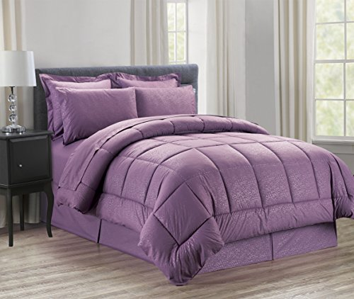 Luxus bed-in-a-bag Tröster Set auf Amazon. eleganten Komfort knitterfrei – seidig weich Schönes Design Komplett bed-in-a-bag 8-teilig Tröster Set – hypoallergenic- King Lavendel