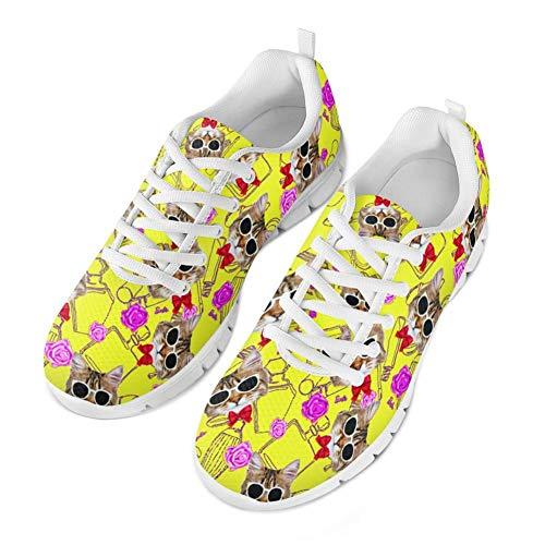 Coloranimal Gym Sport Schnürschuhe Turnschuhe Teenager Mädchen Casual DailyShoes Gelb Cartoon Cat Design Laufen Gehen Leichte Schuhe