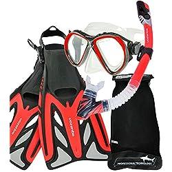 AQUAZON MARLIN kit de plongée, kit de nage, kit de plongée sous-marine, lunettes de plongée avec verre trempé anti-buée, tuba semi-sec, palmes réglables pour les Adultes, colour:red, size:42/46