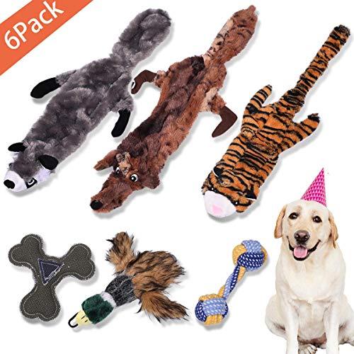 Idepet 6PACK Hund Quietschendes Plüschspielzeug, Hundekauen-Spielzeug für kleine, mittelgroße Hundehaustiere, langlebiges Haustier Interaktives Spielspielzeug Übungsspiel Welpen-Spielzeug