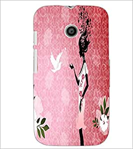 PrintDhaba Girl with Pigeon D-5578 Back Case Cover for MOTOROLA MOTO E (Multi-Coloured)