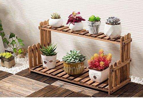 Racks à fleurs en bois - 2 Tier Herb & Plantation Theater en bois dur naturel. Cadeau Idéal Jardiniers (taille : 60 cm)