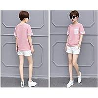 SLR Camiseta de Manga Corta de Color Puro Mujer Camiseta de Manga Larga Fina Suelta de algodón de Verano Camiseta de algodón Puro de Manga Larga,Rosado,XXL