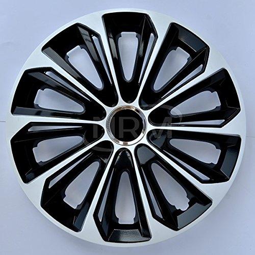 4x Copriruota nero bianco 16 pollici STRONG da NRM | Set di 4 coprimozzi universali, NRM copricerchio nero bianco 16'