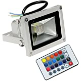 Generic, Metal Rgb Led Flood Light with Remote Control,Waterproof,Ip65,4 Effect,10 W Power,XXXXX-Small Size,( china flood 10w RGB x1pcs,White)-1Pc