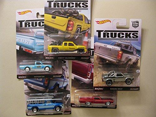 Preisvergleich Produktbild Hot Wheels 5 TRUCKS Set - Ford Ranchero F-250, Datsun,  Chevrolet Silverado, Subaru