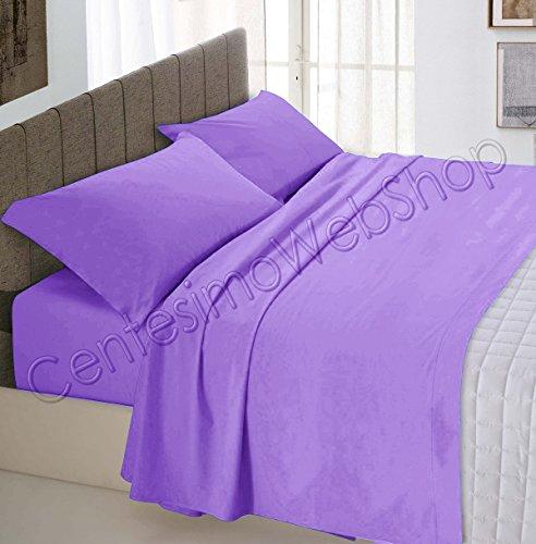 Centesimo web shop completo lenzuola letto per materasso 160x190 cm prodotto in italia 100% cotone due piazze matrimoniale tinta unita lilla -