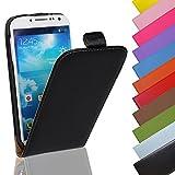 EximMobile - Flip Case Handytasche für Samsung Galaxy Ace 4 in Schwarz | Kunstledertasche Samsung Galaxy Ace 4 Handyhülle | Schutzhülle aus Kunstleder | Cover Tasche | Etui Hülle in Kunstleder