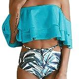 OverDose Frauen aus der Schulter Bikini Set Push-Up gepolsterte Bade Bademode Badeanzug(Blue,L)