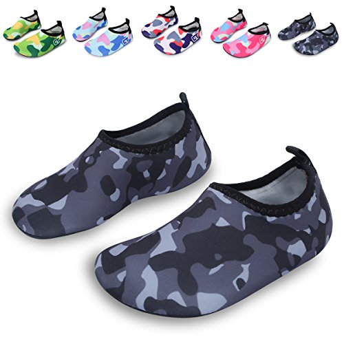 L-RUN Kinder Schwimmen Wasser Schuhe Barefoot Aqua Socken Schuhe für Beach Pool Surfen Yoga Grau