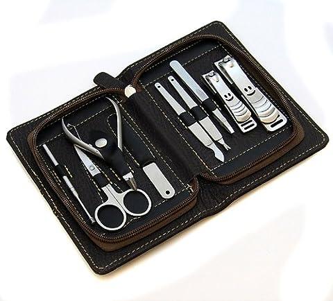 Stainless Nagelpflege-Maniküre Set 9 teilig in hochwertiger Ledertasche