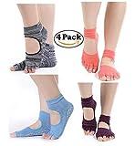 4 Paare Baumwolle Yoga Socken Damen Anti Rutsch Zehensocken für solche Sportarten,wie Joga,Fitness,Pilates,Kampfkunst,Tanz,Gymnastik