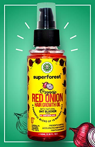 SuperForest Organic Red Onion Hair Oil for Hair Growth for Women & Men with Natural DHT Blocker and 18 Essential Oils 100ML