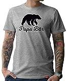 HARIZ  Herren T-Shirt Papa Collection 36 Designs Wählbar Grau Urkunde Papa03 Papa Bär M