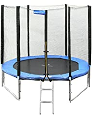 Songmics Trampoline Certifié par TÜV SÜD GS Avec Filet + Echelle + Coussin de Protection Diamètre 244 cm STR8FT
