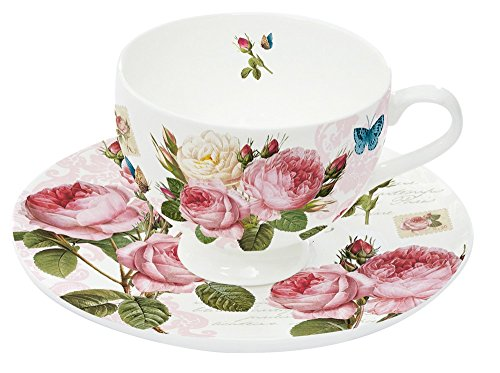 Nuova R2S 328RMR Bone China Set 2 P/T Café Roses Romantiques Porcelaine
