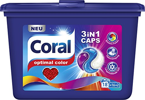 Coral Waschmittel 3 in 1 Caps Color 16 + 2 WL, 3er Pack (3 x 486 g)